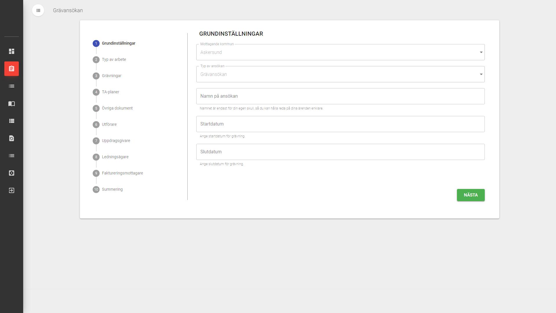 Enkelt ansökningsformulär